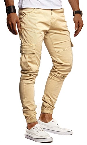 Leif Nelson Herren Hose Jeans Jeanshose Chino Cargo Chinohose Jogger Freizeithose Slim Fit LN9285; W31L30, Camel/Beige