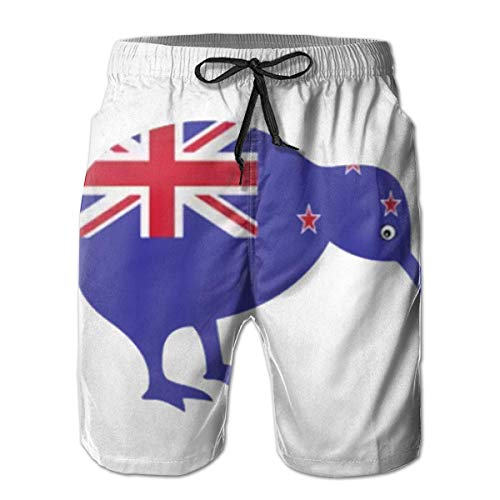Quecci Badehose Herren Freizeit Short Urlaub Short Schnelltrocknend Badeshorts,Men's Board Shorts Swim Trunks Zealand Kiwi Bird Water Resistant Outdoors Beach Summer Mesh Lining