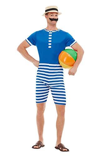Smiffys 50726L 20er Jahre Badeanzug, Herren, Blau & Weiß, L - Größe 106,7-111,8 cm