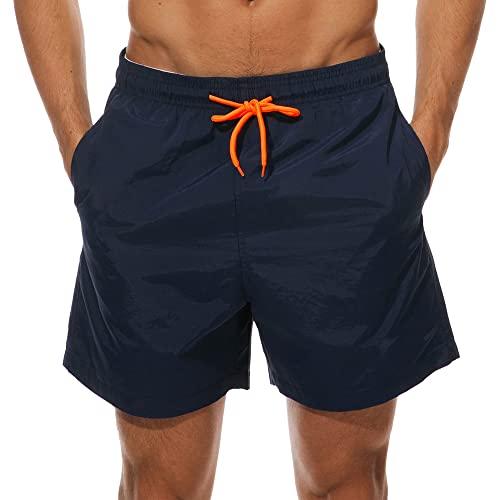 Arcweg Herren Jungen Badeshorts Kurz Badehose Vielfarbig Schnelltrocknend Beachshorts Boardshorts Strand Shorts Dunkelblau XL(EU)-Asia XXL