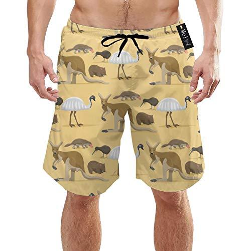 Australien Wild Animals Style Säugetier Herren Jungen Kurze Badehose mit Mesh-Futter Schnelltrocknende Herren-Badeanzüge Badeshorts XL