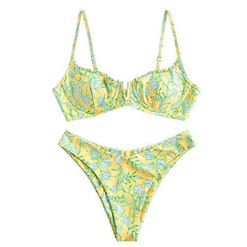 ZAFUL Zweiteiliger Bikini Set, Blumenmuster Hoch Geschnitt Bikini mit Bügel & V-Badehose für Damen (Gelb, M (EU 38))