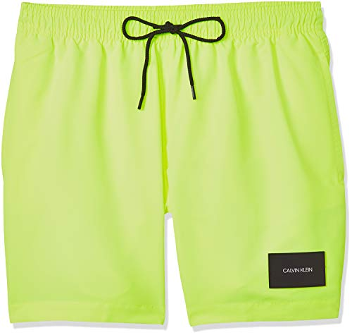 Calvin Klein Herren Medium Drawstring Badehose, Gelb (Safety Yellow ZAA), Large