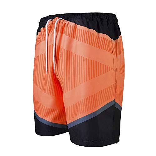 VINTAGE BASICS Badehose für Herren - Badeshorts Schnelltrocknend - Schwimmhose mit Taschen, Innenhose und Kordel Orange XXL