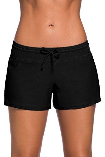 Damen Badeshorts Kurze Badehose UV Schutz Shorts Strand Wassersport Boardshorts Schnell Trocknendes Schwimmhose Schwimmshorts Schwarz L