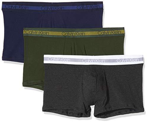 Calvin Klein Herren TRUNK 3PK Badehose, Beige (PEACOAT/CHARCOAL H/DUFFEL BAG NXB), Medium (Herstellergröße:M) (3er Pack)