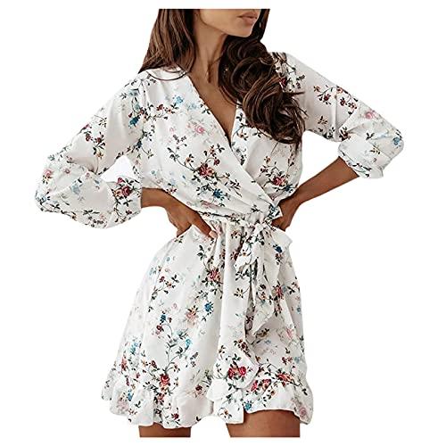 Elegantes Damen-Kleid Curvy Mini-Kleid mit Volantärmel und langen Ärmeln, bedruckt, modisch, mit Schnürsenkeln, beige, Small