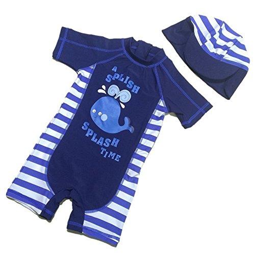 Tyidalin Jungen Badeanzug Einteiler Baby Schwimmanzug UV-Schutz Kinder Badebekleidung Bademode mit Sonnenhut, Blau, 80/86