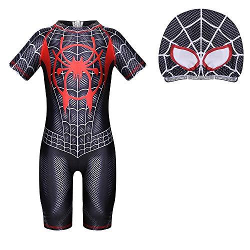Jungen Badeanzug Spiderman Badeanzug Badebekleidung Bademode Schwimmhose Uv Schutz Shirt Kinder Mit Sonnenhut, A1 Schwarz, 110 / 3-4 Jahre