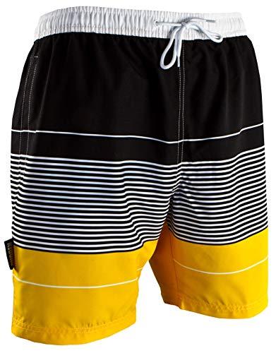 GUGGEN Mountain Badehose für Herren Schnelltrocknende Badeshorts 880 mit Kordelzug Beachshorts Boardshorts Schwimmhose Männer gestreift Farbe Gelb gestreift XXXL