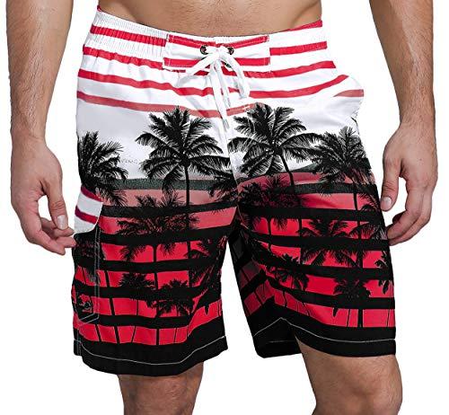 SHEKINI Herren Sommer Badeshorts Hawaii Kokospalme Blumenmuster Badehose mit 3 Taschen Innenslip Schnelltrocknend Strandshorts (30, Rot)