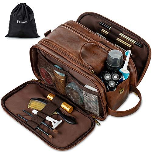 Elviros Kulturbeutel PU-Leder für Herren große wasserdichte Reise-Kulturtasche Waschtasche im Bade Kosmetiktasche mit einem Nass-Trockenbeutel, Dunkel Braun