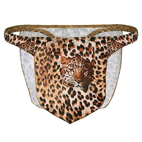 iiniim Herren Slips Briefs Erotik Leopard Druck Bikini Slips Männer Dessous Tanga G-String Braun L
