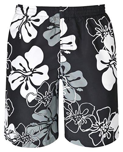 mareno® - Herren Badeshort mit modernem Blumenmuster in schwarz, Größe 6XL