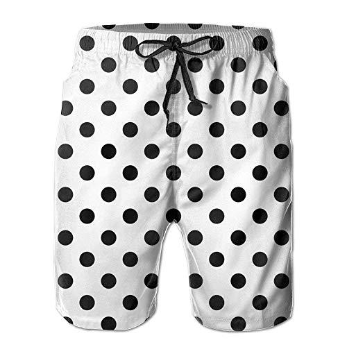 artyly Herren Polka Dot Schwarz-Weiß Atmungsaktive Beach Board Shorts Badehose Schnelltrocknend, Größe L.