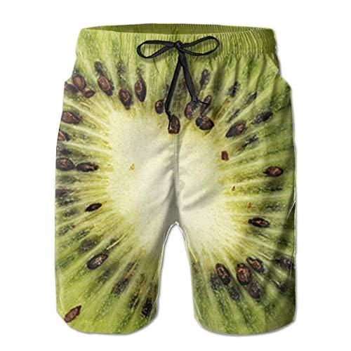 Funny Z Herren Beach Shorts Schnelltrocknende Kiwi-Badehose Badebekleidung Boardshort-Badehose, Größe L.