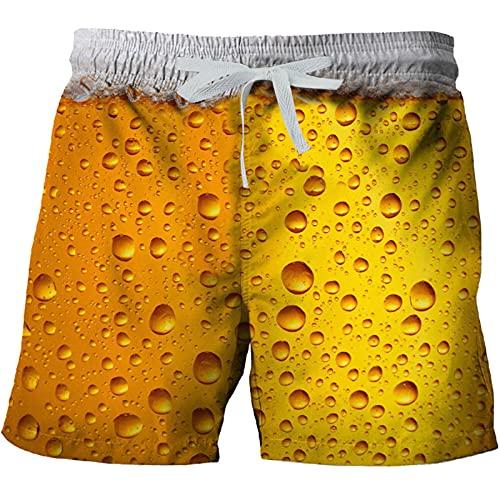BIBOKAOKE Badehose für Herren Lustig Bier 3D Bunt Badeshorts Sommer Swim Trunks Strand Shorts Hawaii Surf Schwimmhose Sporthose Kurz Atmungsaktiv Schwimmshorts Wassersport Urlaub Tauchshorts
