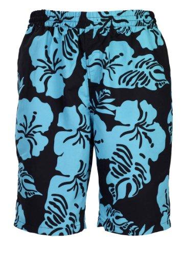 Bugatti® - Moderne Herren Badeshort mit Blumenmuster in schwarz/Jade, Größe XXL