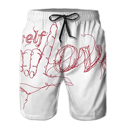 Herren Badehose Quick Dry Beach Badeshorts Self Love Hand Gezeichnetes T-Shirt Print Design M.