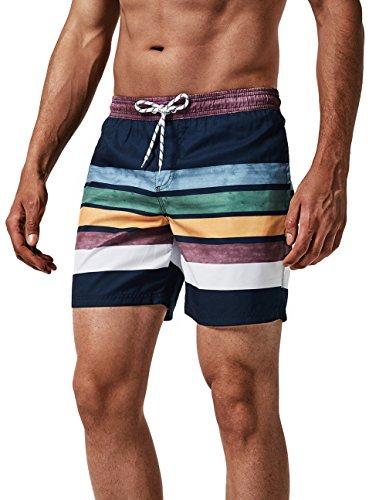 MaaMgic Herren Badehose Jungen Badeshorts Sporthose Schnelltrockend Sport Schwimmhose mit Mesh in vielen Farben, Größen XS - 2XL, Navy Blau Streifen M
