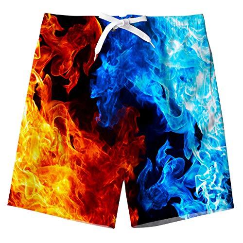 Kinder Jungen Badeshort Beachwear Blau Süß Feuer Design Sommerurlaub Badehose Schnell trocknend Strand Board Shorts für Hawaii Urlaub 8-10 Jahre