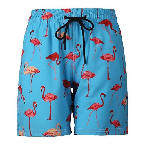 Ducomi Ron Badehose für Herren - Triple Pocket Badeshorts - Kurze und Elastische Schnelltrocknungsshorts - Boxer für Schwimmen, Beachvolleyball, Strand und Surfen (Flamingo, XL)