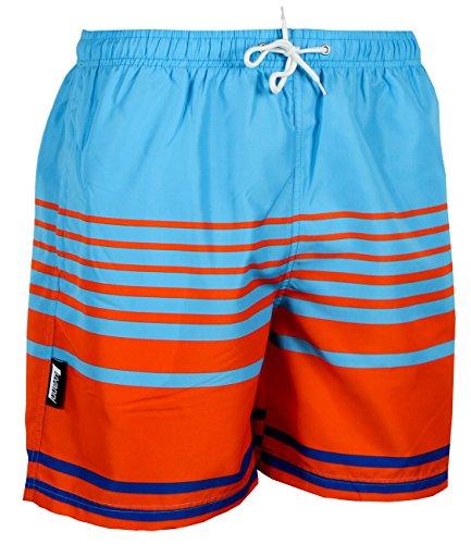 Luvanni Badehose für Herren Schnelltrocknende Badeshorts 564 mit Kordelzug Beachshorts Boardshorts Schwimmhose Männer gestreift Streifen orange blau Farbe Bunt M