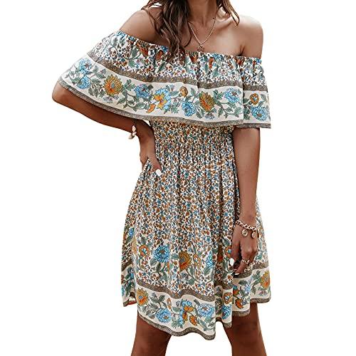 KeYIlowys Sommer One-Shoulder Print Sexy Kleid Mode Frauen Blumendruck Self-Tie Design Hoch taillierte Sommerkleider
