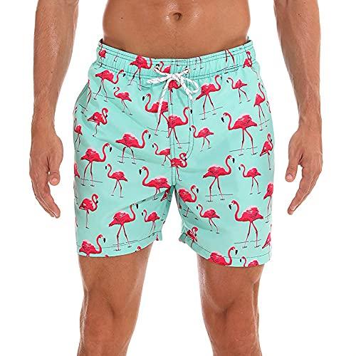 HLVEXH Männer Pink Flamingo Badehose Surfen Badeshorts mit Mesh-Futter Lustige Badehose Retro Elastic Bund Kordelzug Badeshorts für Herren Jungen XL