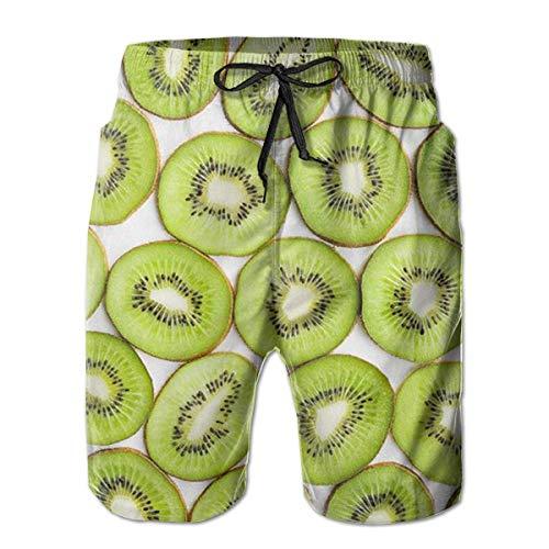 wwoman Herren-Badehose Green Kiwi Fruit Quick Dry Beach Board Shorts,M