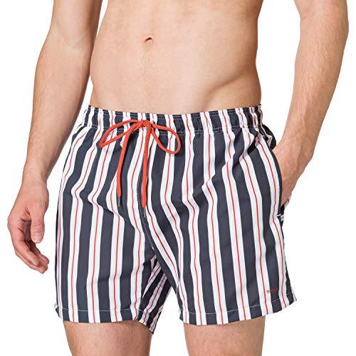 Skiny Herren Shorts Badehose, Big Midnight Stripes, M