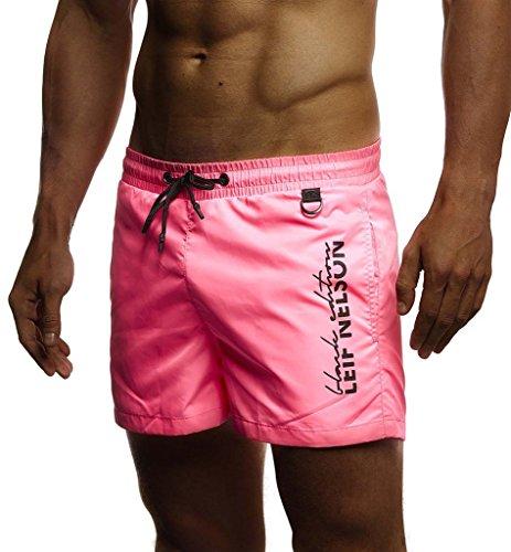 Leif Nelson Herren Sommer Badehosen Badeshorts Schwimmhose Schwimmshorts Beachshorts Strand Shorts Kurze Hosen Freizeithosen Jogginghose Cargo Hose Bermuda Chino LN9215; Large; Pink