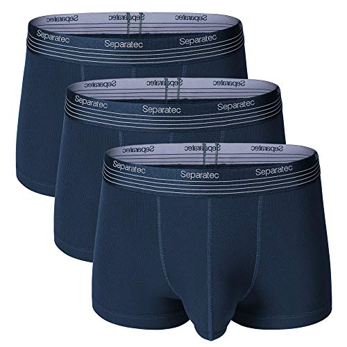 Separatec Herren Boxershorts Soft Micro Modal mit separaten Doppeltaschen Unterwäsche 3er Pack Boxershorts Ultra Bequeme, leichte Badehose (L, Dunkelblau)
