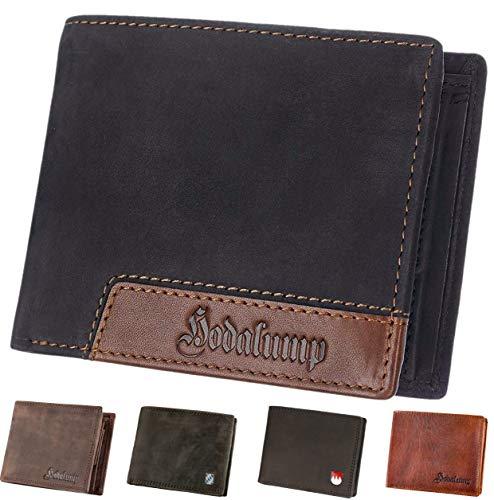 Hodalump Echt-Leder Geldbörse • Geldbeutel für Damen und Herren mit RFID-Schutz • Portmonee inkl. Geschenkverpackung • Farbe: Schwarz-Braun mit Hodalump Prägung