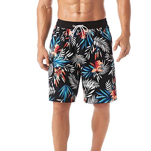 KASEBAY Herren Strand-Shorts, Badehose, schnelltrocknend, Badeanzüge für Board-Bading, lässige Surfhose mit Tasche Gr. XL, Schwarz-weißes Blatt
