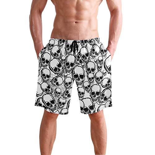 QUEMIN Herren Strand Badehose Schwarz-Weiß Schädel Boxer Badeanzug Unterwäsche Boardshorts mit Tasche, Größe XL