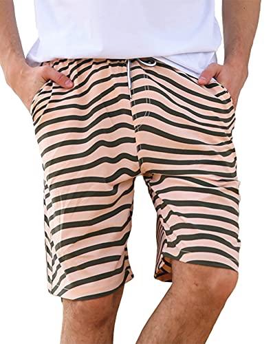 LYRIKER Badehose Herren Badeshorts Männer Schwimmhose Sporthose kurz Shorts Sportbekleidung, Beige mit Streifen XL