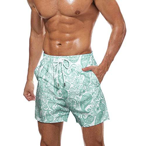 COOFANDY Badehose für Herren Badeshorts für Männer Kurz Schnelltrocknend Beachshorts Boardshorts mit Blumenmuster(Grün,XL)