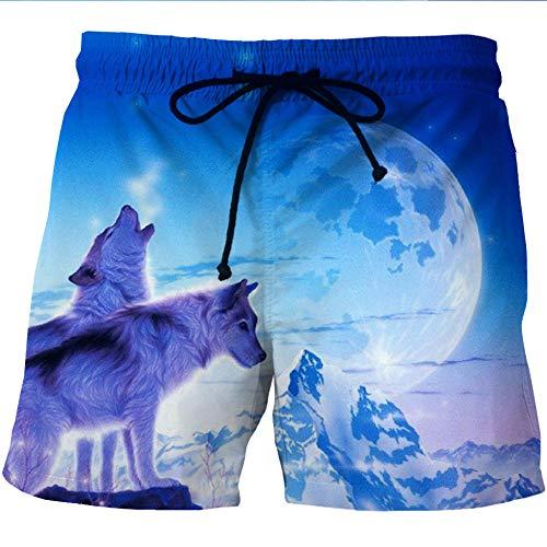 Herren Kurze Hose 3D Druck Animal Wolf Druck Shorts Sommer Loose Kordelzug Casual Quick Dry Shorts Strandhose Badehose Surf Wear Für Party Beach-M
