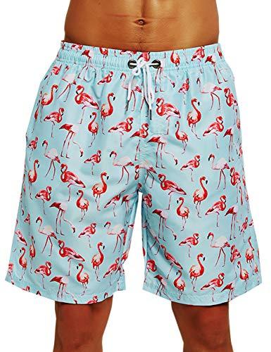 HLVEXH Herren Badehose Schnelltrocknend Boardshorts Badeanzug mit Taschenfutter Badebekleidung Sportkleidung Hawaiianische Kleidung Tropisch Surfen Strand Badeanzug Badeshorts Weißer Flamingo groß