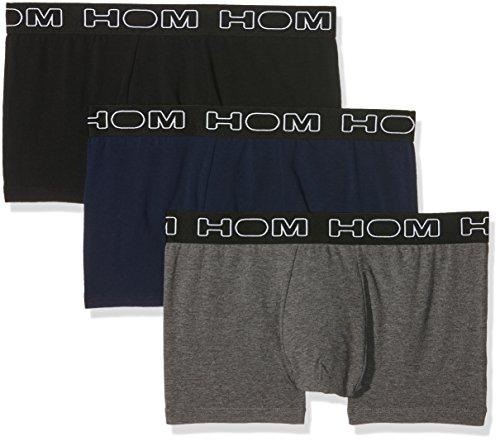 HOM - Herren - Boxer Briefs 3-Pack 'Boxerlines' - Retroshorts - Black/Navy/Grey Mel - Grösse M