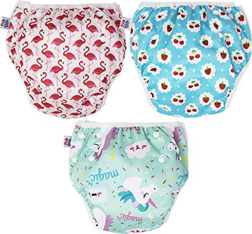 PINK & BLUE 3-teilig Schwimmwindel Schwimmhose Baby und wiederverwendbar Badehose für Jungen und Mädchen (7-20,5 kg) umweltfreundlich schonend für das Fell (Einhorn, Large)