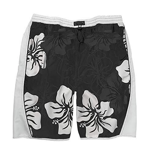 eleMar Übergrößen Herren Badebermuda in schwarz-weiß mit Blumenaufdruck Größe 3XL - 10XL, Größe:3XL