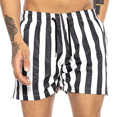 Redbridge Herren Badehose Badeshorts kurz schnelltrocknend Vertical Stripes Schwarz-Weiß XL