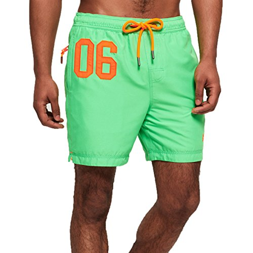 Superdry Badeshorts Herren Waterpolo Swim Shorts Deck Bright Green, Größe:XXL