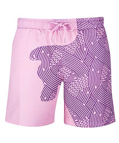 URVIP Schnelltrocknende Farbwechselnde Badehose für Herren Jungen Schwimmhose Temperaturempfindliche farbwechselnde Badeshorts Strand Surfshorts Geometrische Streifen Rosa bis Violett M