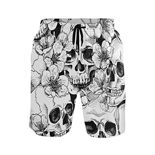 Hunihuni Herren Strand-Shorts, Totenkopf-Blumenmuster, Kordelzug, Badeanzug, Bademode, Netzfutter mit Tasche Gr. L/XL, mehrfarbig