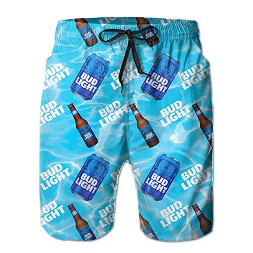 Herren Badehose Bud Light Swimtrunks Sommer Cool Quick Dry Boardshorts Badeanzug mit Seitentaschen, Netzfutter, S-XXXL - Violett - Medium