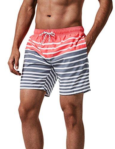 MaaMgic Herren Badehose Jungen Badeshorts Sporthose Schnelltrockend Sport Schwimmhose mit Mesh in vielen Farben, Größen XS - 2XL, Pink Grau XS