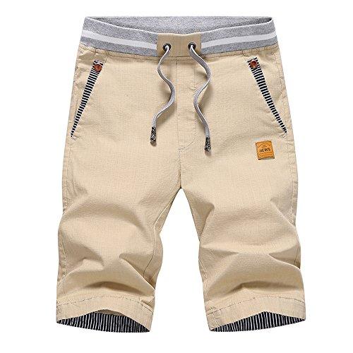 Tansozer Kurze Hosen Herren Bermuda Shorts Herren Sommer Chino Gummizug Khaki XL
